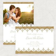burlap and lace rustic wedding save the date or engagement announcement - printable file -  photo save the date or postcard
