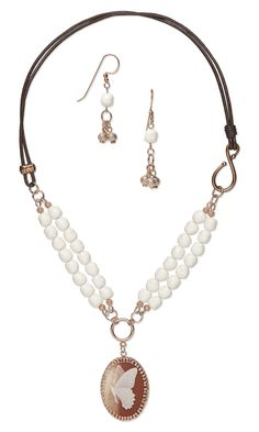 Jewelry Design - Double-Strand Necklace and Earring Set with Swarovski Crystal, Leather Cord and Acrylic Cabochon - Fire Mountain Gems and Beads