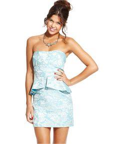 Speechless Juniors Dress, Strapless Jacquard-Print Peplum - Juniors Dresses - Macy's
