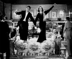 """Cary Grant and Kathrine Hepburn in, I believe, director George Cukor's """"Holiday"""". (gif)"""