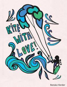 Kite with love T-shirt illustrationby designer and artist Renske Herder
