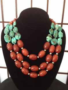 Three-strand Red Sponge Coral & Turquoise Bead Necklace