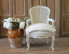 For Sale on - century French style Louis XV cane back childs chair. Beautifully painted chair in our oyster white finish, with subtle distressed edges, and finished White Leather Dining Chairs, Blue Dining Room Chairs, Outdoor Furniture Chairs, Outdoor Lounge Chair Cushions, White Furniture, Compact Table And Chairs, Shabby Chic Table And Chairs, Cane Back Chairs, Beach Chair With Canopy