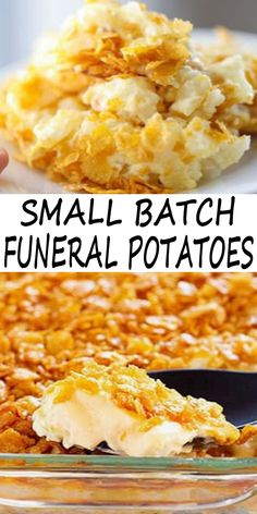 Small Batch Funeral Potatoes Small Batch Funeral Potatoes – cheesy potato casserole with corn flake topping, party potatoes, or potluck potatoes scaled down to make a great side dish. This is simple to make it only 45 minutes. Easy Soup Recipes, Side Dish Recipes, Gourmet Recipes, Cooking Recipes, Batch Cooking, Copycat Recipes, Cheesy Potato Casserole, Potatoe Casserole Recipes, Cheesy Potatoes With Hashbrowns