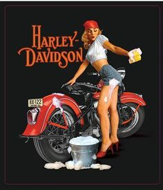 Harley Davidson Fifties Pinup Girl Sign Washing A Vintage Harley Sportster XR | eBay