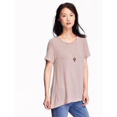 Old Navy Womens Swing Tee ($15) ❤ liked on Polyvore featuring tops, t-shirts, icelandic mineral, old navy tees, drape top, relaxed fit t shirt, pink top and pink t shirt