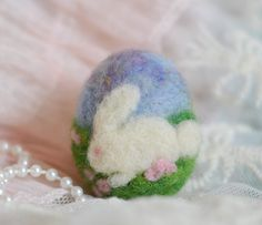 OOAK Handmade Easter Egg Needle Felted Bunny by thefeltedcottage, $18.00