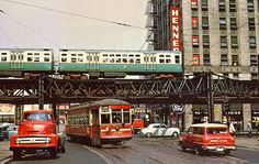 Chicago Surface Lines streetcar at Lake Street and Dearborn Street, with CTA train passing above on the Lake Street L. Chicago September 1953 Photo by William Janssen Chicago Lake, Chicago Travel, Chicago City, Chicago Style, Chicago Illinois, Ford City, Chicago Transit Authority, Chicago Pictures, The Blues Brothers