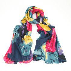 Azalea Vibrant Mixed Coloured Print Sarong Wrap Scarf Organic Cotton #Azalea_sarong_scarf_wrap_summer_holiday_vibrant_colours_organic_cotton_new_blue_yellow_pink_green