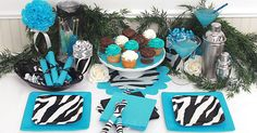 Black and Turquoise Party Decorations   Zebra Print Party Supplies, FREE shipping offer, 50% off tableware ...