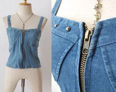 DIY pinup bustier top | PINUP Metallic denim corset bralet Bustier top BRA Blouses JEAN studs ...