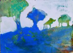 Landscape in Blue Gouache...judy thorley