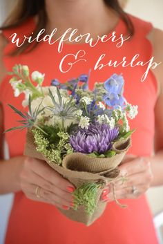 A rustic bouquet: wildflowers & burlap