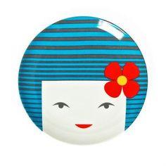 Kokeshi Plate Blue