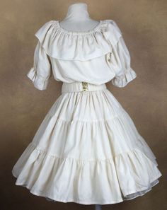 Ivory Square Dance Skirt Blouse & Belt Very Well Made #Unbranded