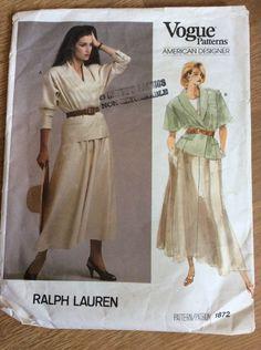 Vintage Vogue Patterns American Designer Ralph Lauren 1872 #VoguePatterns