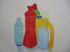 stilleven van plasticflessen-aquarelpotlood