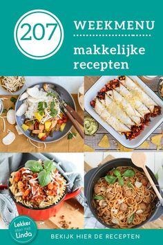 Weekmenu met recepten voor het hele gezin. Voor dit 207ste weekmenu heb ik weer aantal makkelijke recepten op een rijtje gezet. Wat kun je verwachten deze week? Burrito's met gehakt, zoet zure kip, vega bolognese en een eenpans spaghetti met balletjes. Geniet ervan. Snacks, Spaghetti, Ethnic Recipes, Food, Appetizers, Essen, Meals, Yemek, Noodle