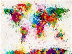 Paint Splashes Karte Weltkarte Kunstdruck 168 von artPause auf Etsy