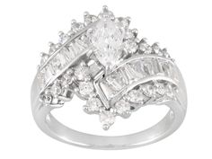 Bella Luce (R) 3.36ctw Marquise, Baguette And Round Rhodium Plated Sterling Silver Ring