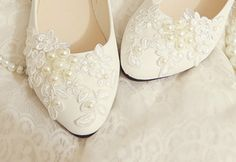 Handmade White lace Pearl wedding shoes ballet flat Pearl beads Bridal shoes Bridal flat heel shoes Bridesmaids shoes