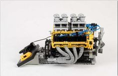 Fully operational Lego Technic V8 engine. By Barry Bosman
