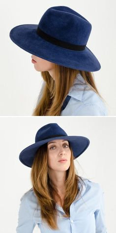 It's tough to top a handmade felt fedora in night-sky navy. #etsyfashion