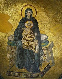 Madonna with Christ, 9th century, mosaic, Hagia Sophia (Istanbul). This mosaic follows the iconoclastic crisis and revives stylistic elements from early Christian art.