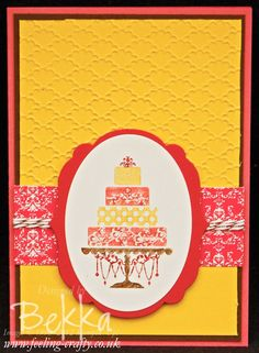 Beautiful Birthday Cake Card by Stampin Up! Demonstrator Bekka Prideaux - you can get all the supplies for this card from her