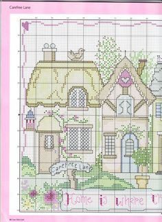 "Gallery.ru / Фото #46 - 990 - Yra3raza cute free ""carefree lane"" cross stitch sampler of little cottages part 1"