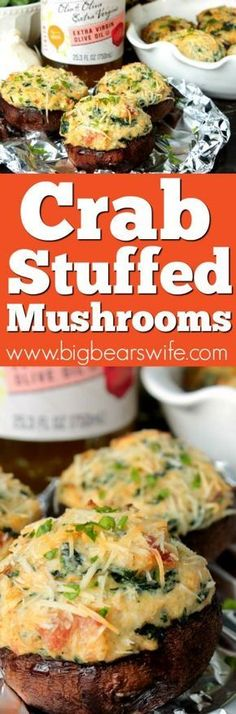 Crab Stuffed Mushrooms - These Crab Stuffed Mushrooms are filled with an easy cream cheese, crab and spinach filling! PS. there are NO breadcrumbs in this recipe! #hemisfares