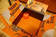 How cute is this?  I could decorate the inside flaps like this, glue a little pumpkin down and fill the rest of the box with his favorite candies!