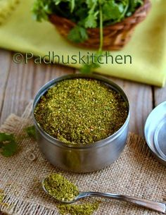 Coriander Leaves Podi-Kothamalli Podi Easy to cook Indian Vegetarian Recipes-South Indian, North Indian dishes,Tamil Brahmin recipes with step by step cooking instructions and pictures. Indian Food Recipes, New Recipes, Vegetarian Recipes, Cooking Recipes, Healthy Recipes, Fast Recipes, Crockpot Recipes, Masala Powder Recipe, Masala Recipe