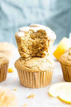 Healthy Lemon Poppy Seed Muffins Recipe (V, GF): wonderfully moist and fluffy muffins bursting with poppy seedsand lemon flavor. The perfect balance of sweet and tart!#Vegan #GlutenFree #DairyFree #Breakfast #Snacks | Recipe on BeamingBaker.com