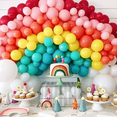 the rainbow balloons are the best for party decor Rainbow First Birthday, Happy First Birthday, Baby Birthday, First Birthday Parties, First Birthdays, Birthday Ideas, Rainbow Party Decorations, Rainbow Parties, Rainbow Theme