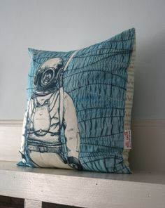 Deep Sea Diver Pillow Cover by allicoate on Etsy, $36.00