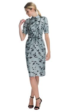 CAROLINA HERRERA Rabbit Print Twill Elbow Ruched Sleeve Button Front Shirt Dress   Love the cute print!
