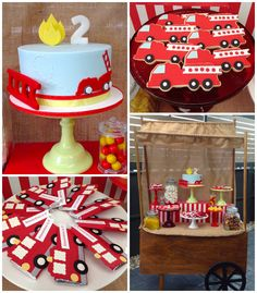 Vintage Fire Truck Themed Birthday Party {Ideas, Decor, Planning} Vintage Fire Truck themed birthday party with such cute ideas via Kara' s Party Ideas Birthday Party Desserts, 2nd Birthday Parties, Birthday Party Decorations, Birthday Ideas, Fireman Party, Firefighter Birthday, Fireman Sam, Party Mottos, Baby Shower