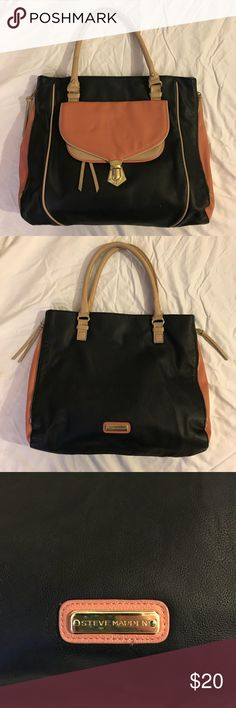 Steve Madden handbag Black & coral handbag with tan accents. Side zippers that can be zipped closed. Two front pockets for extra storage. Split interior with back zippered pocket and front pockets for cell phones, money, etc. Steve Madden Accessories