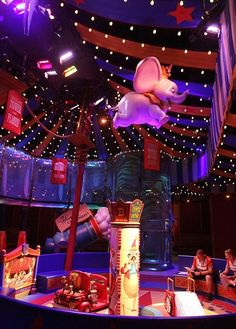 The new Dumbo ride at Disney's Magic Kingdom is pictured on Wednesday, June 20, 2012. This photo shows the inside air-conditioned waiting area.