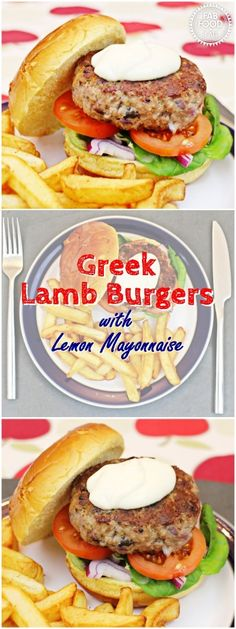 Greek Lamb Burgers with Lemon Mayonnaise - Fab Food 4 All