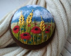 Needle felted brooch,floral jewelry,embroidery brooches by FeltAccessories Hand Embroidery Stitches, Ribbon Embroidery, Embroidery Art, Textile Jewelry, Fabric Jewelry, Felt Diy, Felt Crafts, Needle Felted Animals, Needle Felting