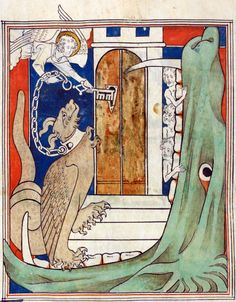 dragon in chainsRevelation 20:1-3'Queen Mary Apocalypse', London 14th centuryBritish Library, Royal MS 19 B XV, fol. 38v