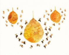 Three Honey Bees Print.  This inspired me to make decorated balloons hanging with little bees buzzing around as if they were hives or possibly create paper mache ones for decor.