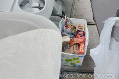 Car organization... Snack box, trash bags on command hooks, and other good ideas