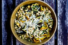 grilled zucchini ribbons with pesto and white beans – smitten kitchen Quick Vegetarian Dinner, Vegetarian Main Dishes, Vegetarian Dinners, Vegetarian Recipes, Cooking Recipes, Healthy Recipes, Vegetarian Grilling, Healthy Grilling, Side Recipes