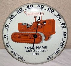 Allis Chalmers Vintage Thermometer  (Bulldozer Tractor Antique Metal Farm Sign Thermometers, 1950)
