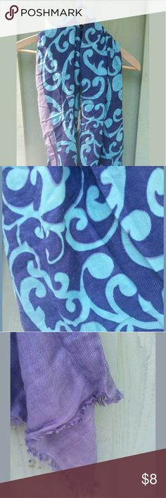 Blue and purple print pashmina scarf Excellent condition. Frayed ends. unbranded Accessories Scarves & Wraps