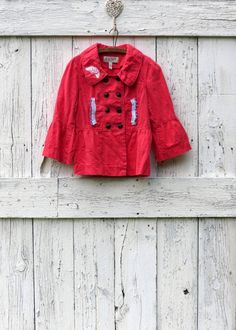 Wear Your Whimsy upcycled coral red jacket double by wearlovenow, $52.99