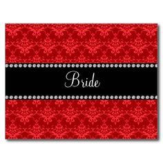 Bride red damask gifts postcard